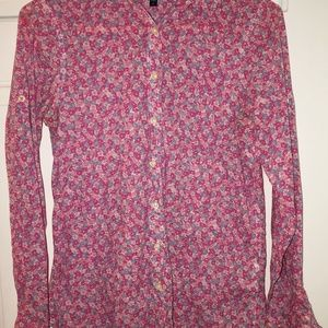 GAP Tops - Gap Blouse Pink and Blue Flower Button Down